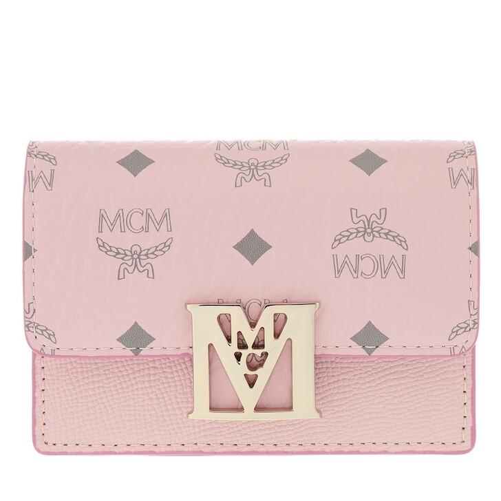 Geldbörse, MCM, Mena Visetos Leather Block Three-Fold Wallet Small Powder Pink