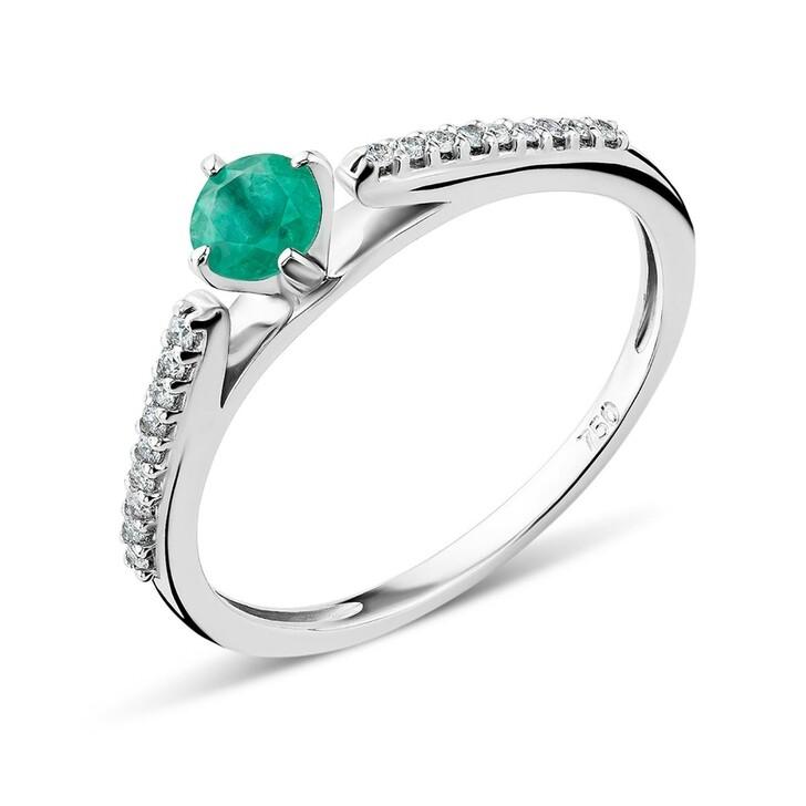 Ring, DIAMADA, 18KT Diamond and Emerald Ring White Gold