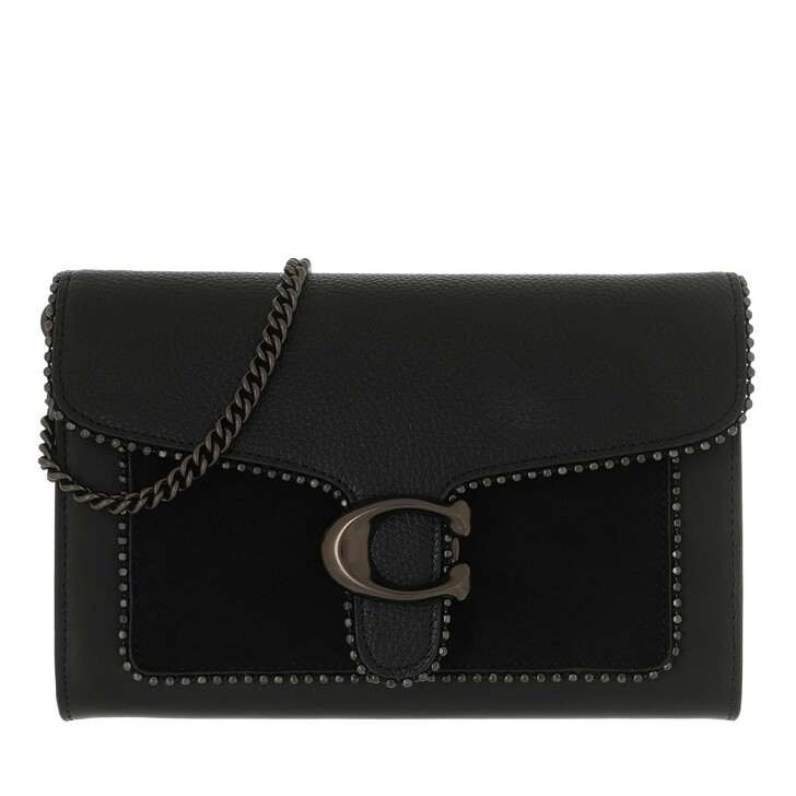 Handtasche, Coach, Mixed Leather Bead Chain Tabby Chain Clutch Black