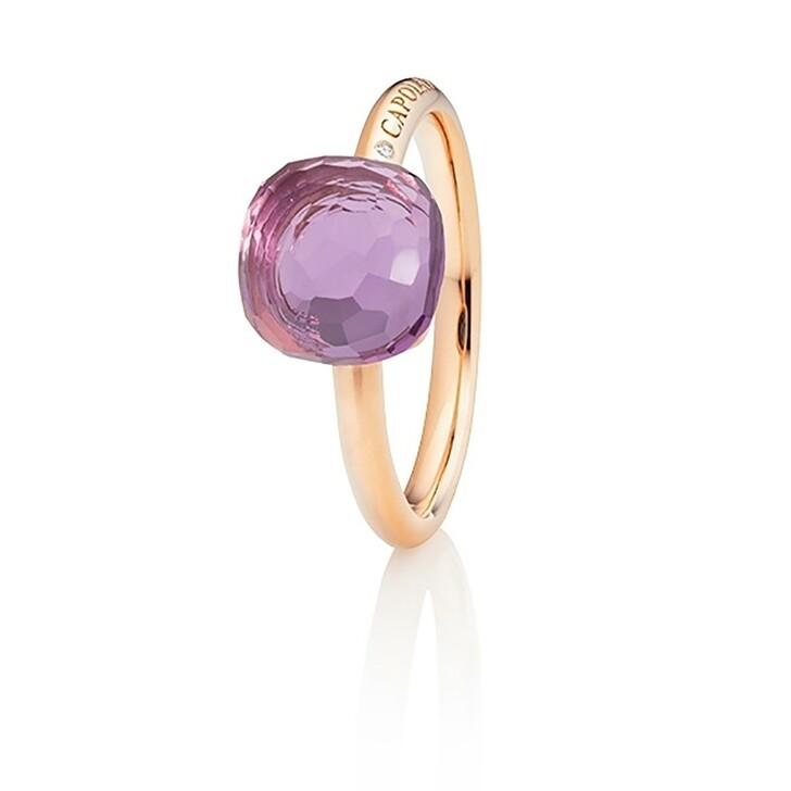 Ring, Capolavoro, Ring Happy Holi Violet Amethyst Cabochon Rosegold