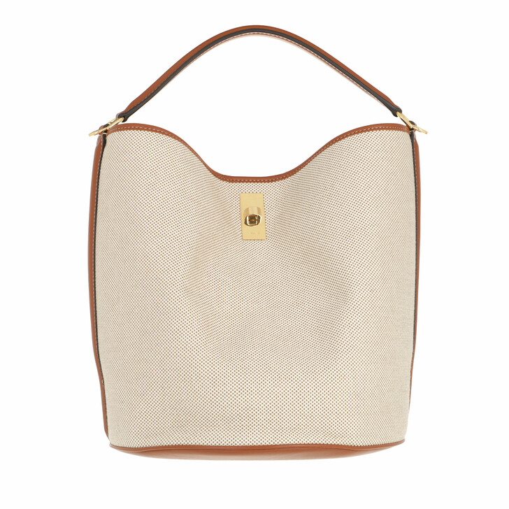 bags, Celine, 16 Bucket Bag Tan/White