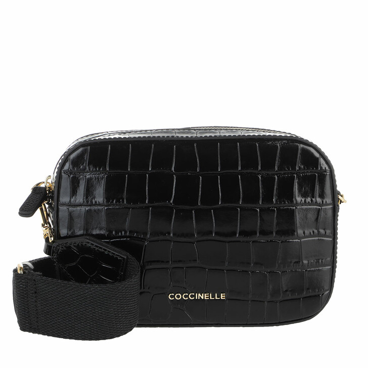 Handtasche, Coccinelle, Mini Bag Shiny Soft Croco Print Noir