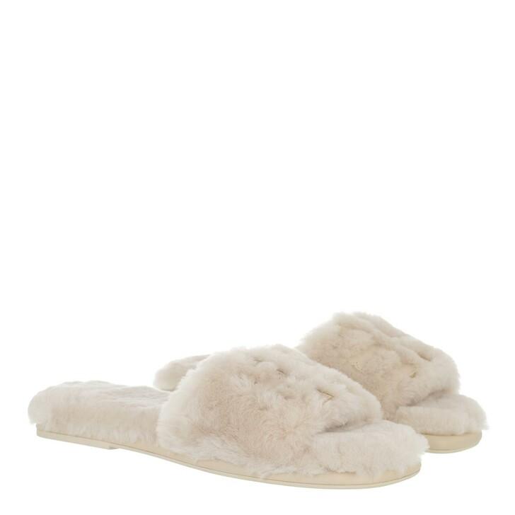 shoes, Tory Burch, Double T Shearling Slide Natural Dulce De Leche Gold