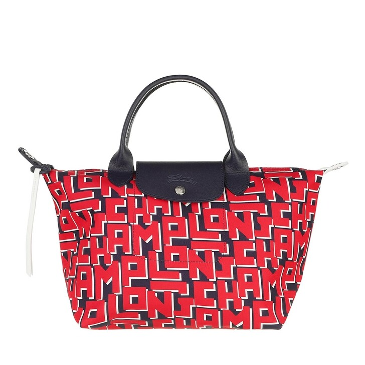 bags, Longchamp, Le Pliage LGP Handbag  Marine/Red