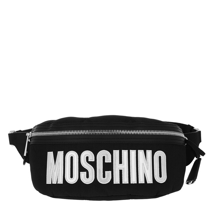 Handtasche, Moschino, Belt Bag Nylon Logo Fantasy Print Black