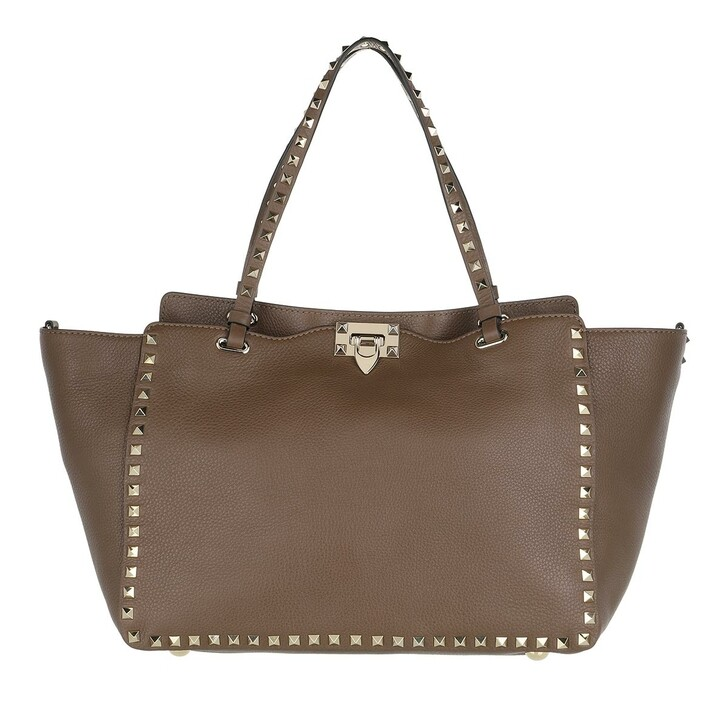 Handtasche, Valentino, Rockstud Shopping Bag Taupe
