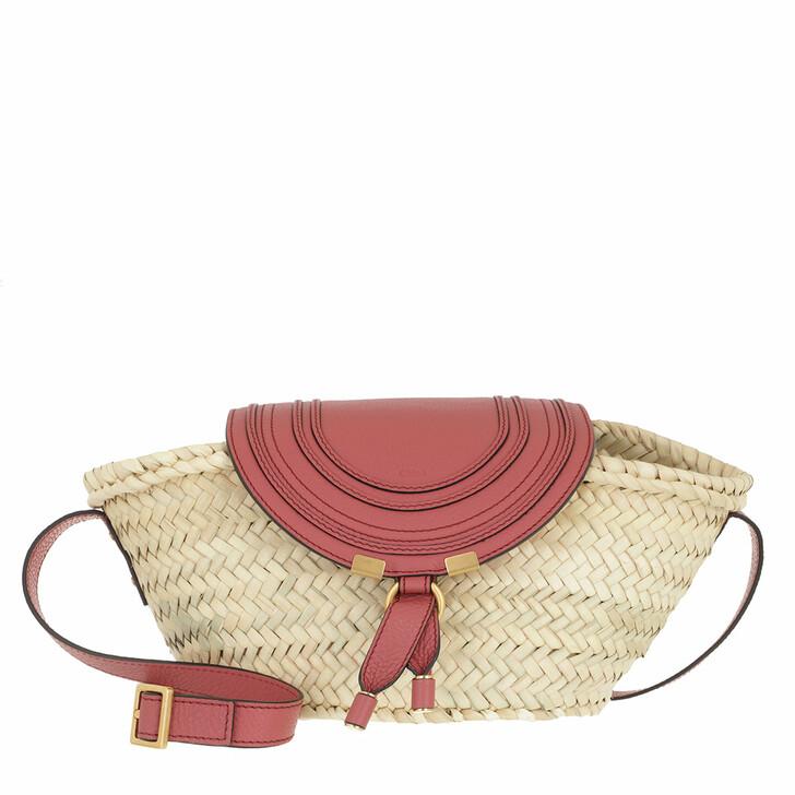 bags, Chloé, Small Marcie Basket Bag Hand-Braided Raffia Faded Rose