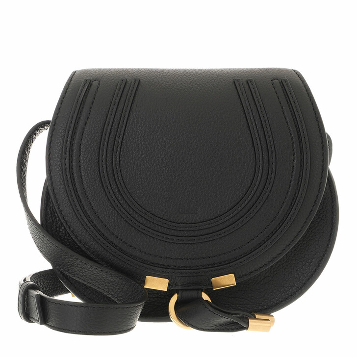 bags, Chloé, Small Marcie Shoulder Bag Grained Leather Black