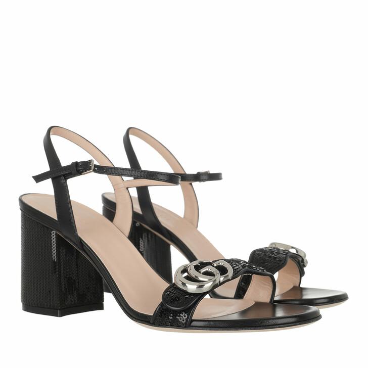Schuh, Gucci, Block Mid Heel Sequin Sandal Black