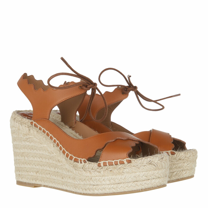 Schuh, Chloé, Ingrid Flat Sandals Leather Cognac Brown