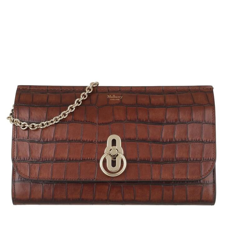Handtasche, Mulberry, Amberley Clutch Vintage Croc Print Cognac Brown