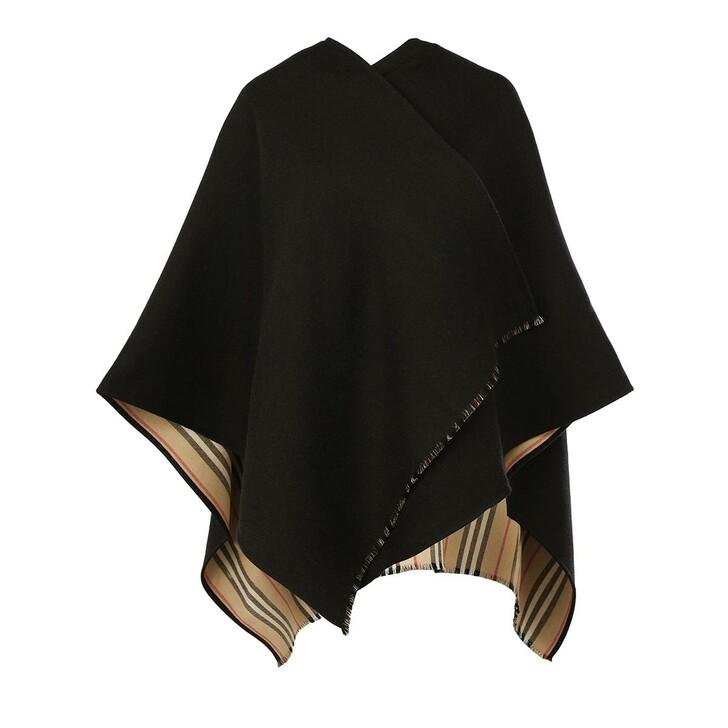 scarves, Burberry, Icon Stripe Cape Poncho Black