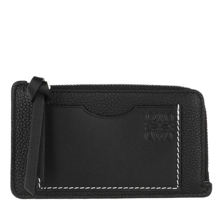 Geldbörse, Loewe, Coin And Card Holder Calfskin Black
