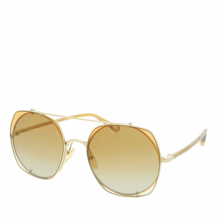 Sonnenbrille, Chloé, Sunglass WOMAN METAL GOLD-BROWN-ORANGE