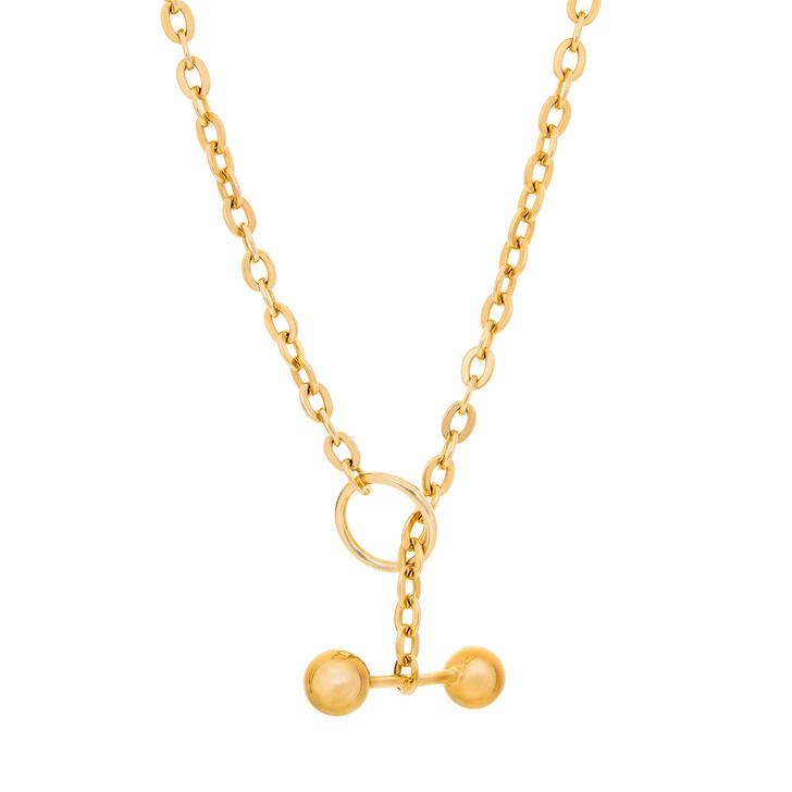 Kette, Saskia Diez, Barbelle Necklace Choker 38 cm Yellow Gold