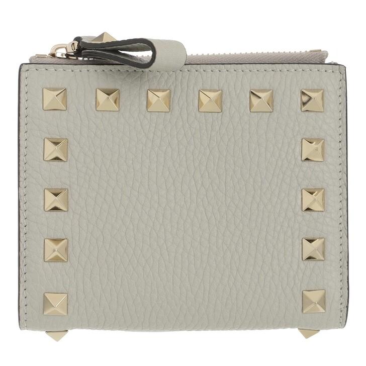 wallets, Valentino Garavani, Rockstud Flap French Compact Wallet Leather Opal Grey
