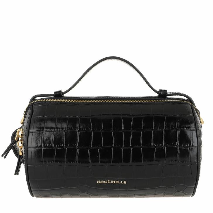 Handtasche, Coccinelle, Lottie Croco Shiny Soft Crossbody Leather Noir