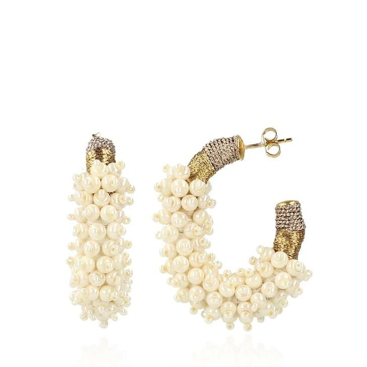 Ohrring, LOTT.gioielli, Glassberry Creole Silk Combi Oval M Pearl