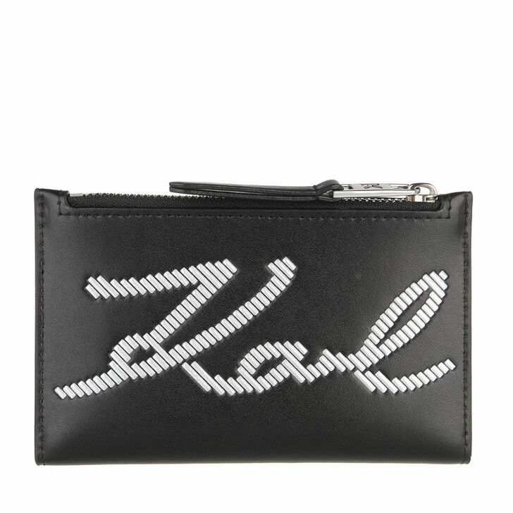 wallets, Karl Lagerfeld, Signature Special Zip Card Holder  Black
