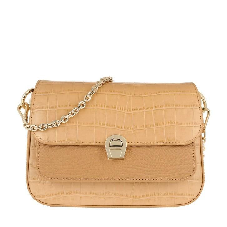 Handtasche, AIGNER, Crossbody Bag Genoveva Vacchetta Brown