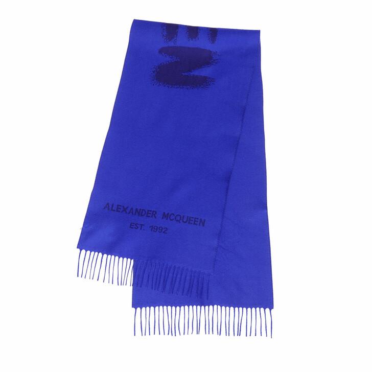 scarves, Alexander McQueen, Graffiti Scarf 45X200 Royal Blue