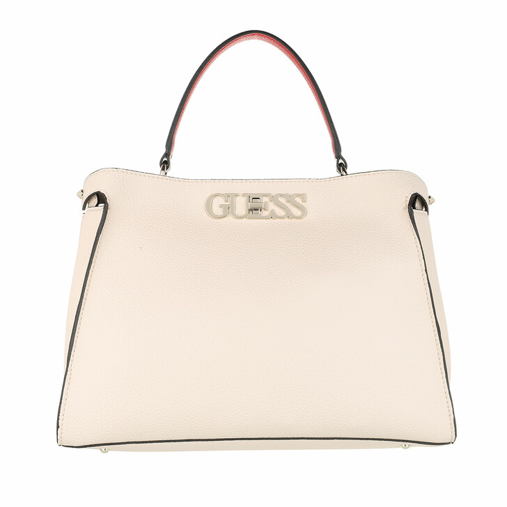 Handtasche, Guess, Uptown Chic Large Satchel Bag Stone Multicolor
