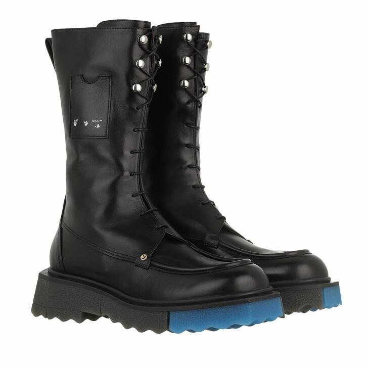 shoes, Off-White, Nappa Sponge Pocket Combat Bootie Black
