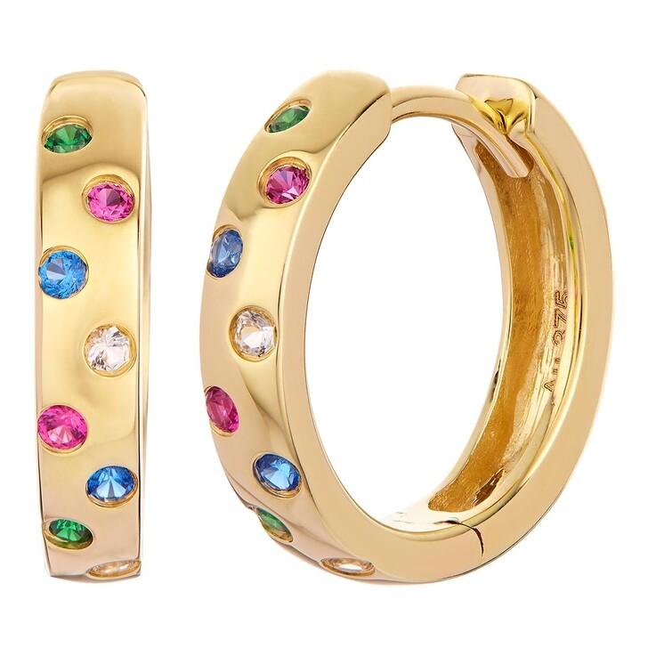 earrings, BELORO, Earring Creole Mulitcolour 375 Yellow Gold