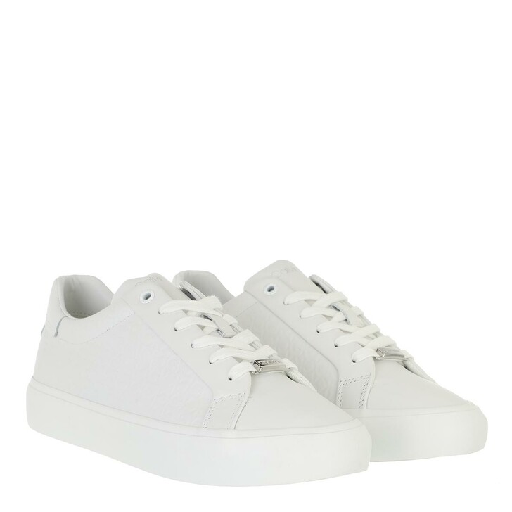 shoes, Calvin Klein, Vulc Lace Up Emboss Mono Triple White