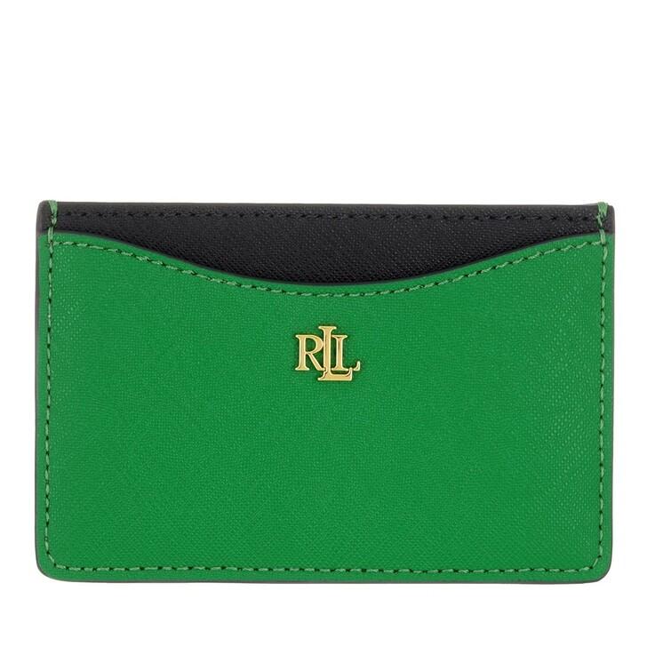 wallets, Lauren Ralph Lauren, Slim Card Case Medium Antibes Green/Lauren Navy/Snow White