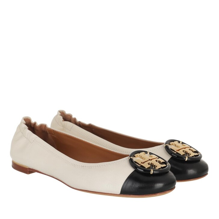 Schuh, Tory Burch, Multi Logo Cap-Toe Ballet New Ivory / Perfect Black