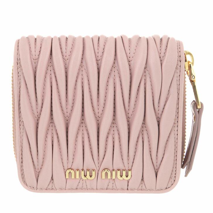 wallets, Miu Miu, Matelassé Wallet Leather Opale