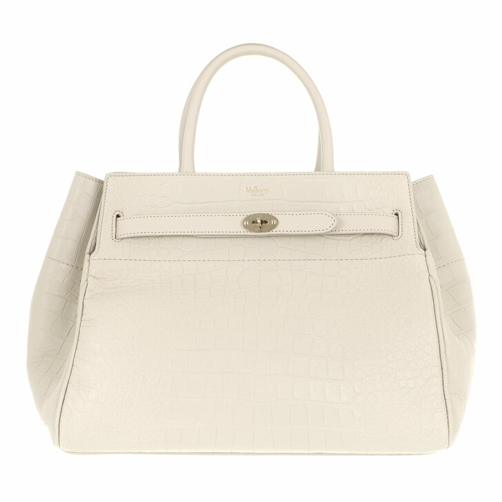 Handtasche, Mulberry, Bayswater Tote Bag Soft Printed Croc Leather Chalk