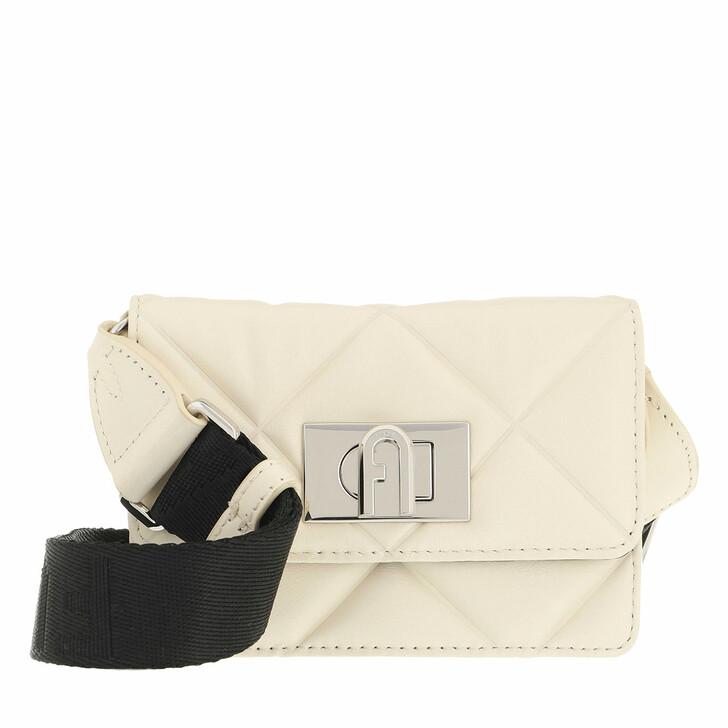 bags, Furla, Furla 1927 Soft Micro Crossbod White Cotton+Nero