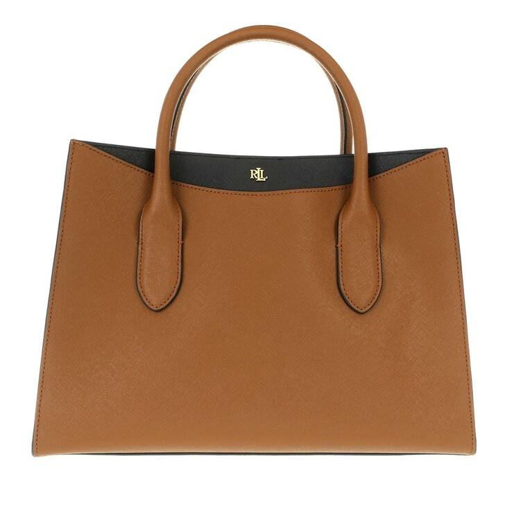 bags, Lauren Ralph Lauren, Emery 31 Satchel Medium Lauren Tan/Black