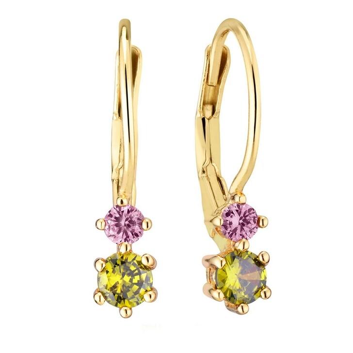 earrings, Sif Jakobs Jewellery, Rimini Due Earrings Yellow Gold/Olive Green/Pink