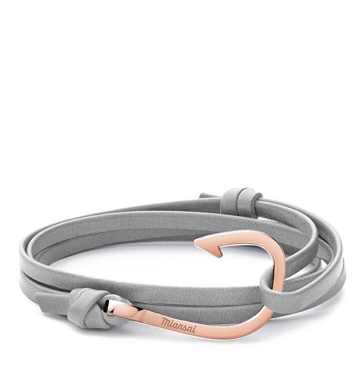 Armreif, Miansai, Hook on Leather Bracelet Rose Plated Grey