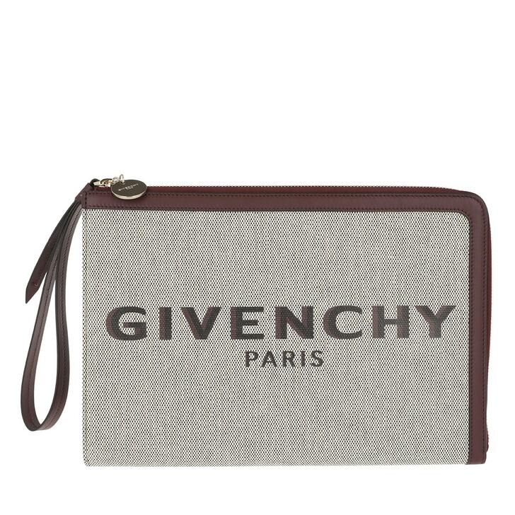 Handtasche, Givenchy, Logo Clutch Cotton Aubergine