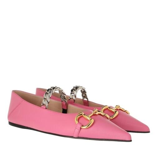 gucci -  Loafers & Ballerinas - Deva Horsebit Ballerinas Leather - in pink - für Damen