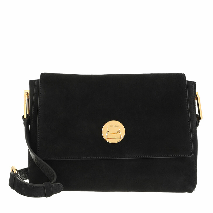 bags, Coccinelle, Handbag Suede Leather Noir/Noir