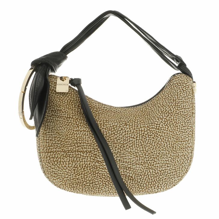 Handtasche, Borbonese, Petite Luna Satchel Bag Op Natural/Black