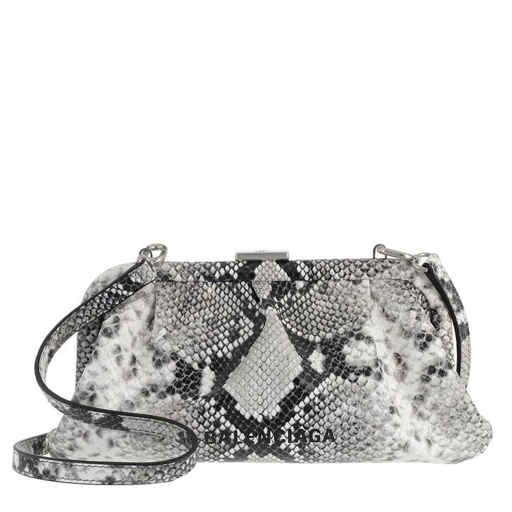 bags, Balenciaga, Cloud XS Clutch With Strap Python Print Black/White