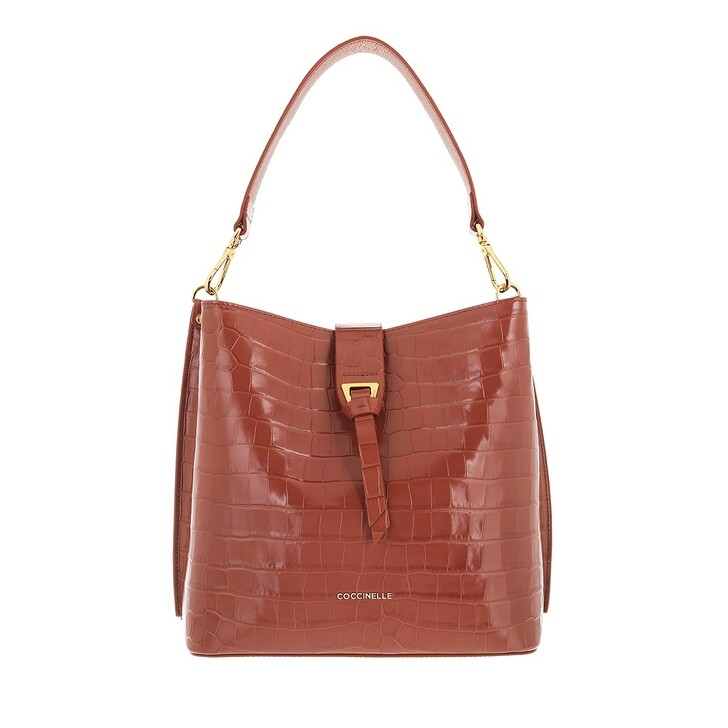 bags, Coccinelle, Alba Croco Shiny Soft Handbag Cinnamon
