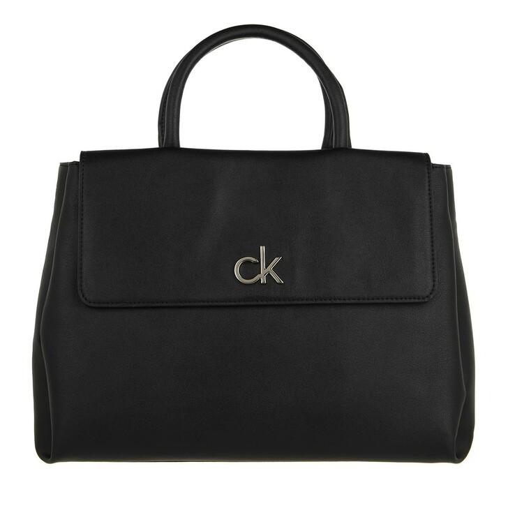 bags, Calvin Klein, Re-Lock Tote With Flap Medium CK Black