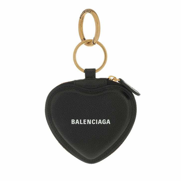 wallets, Balenciaga, Cash Heart Mirror Case Wallet Black White