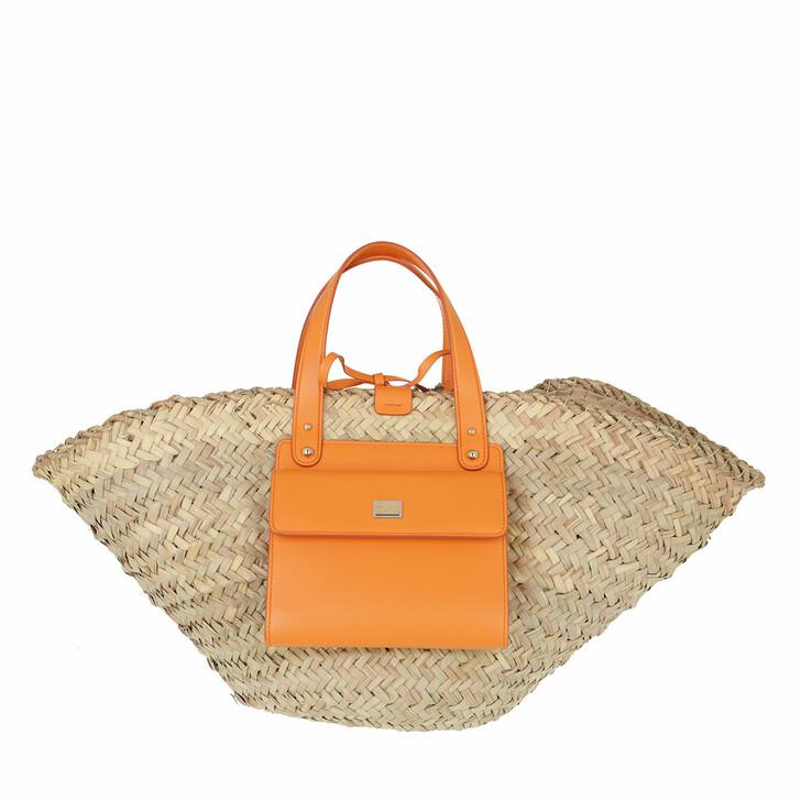bags, Dolce&Gabbana, Raffia Kendra Bucket Bag Orange