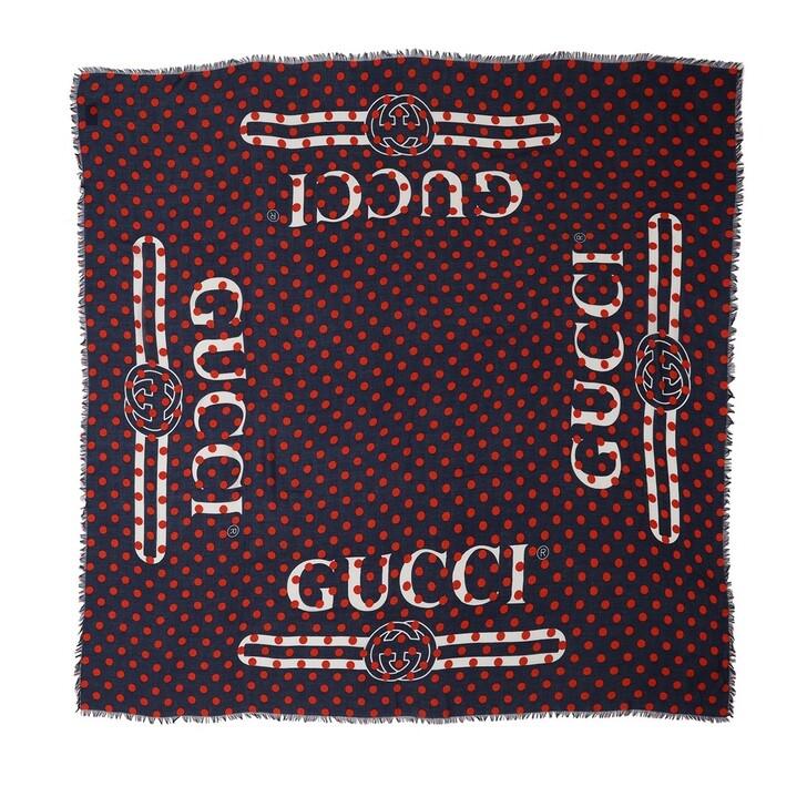 Schal, Gucci, Vintage Logo Polka Dot Scarf Sapphire Dot