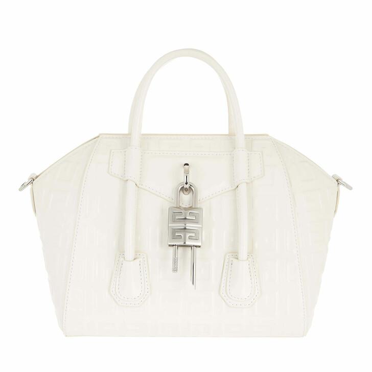 bags, Givenchy, Mini Antigona Lock Handle Bag In Box Leather Ivory
