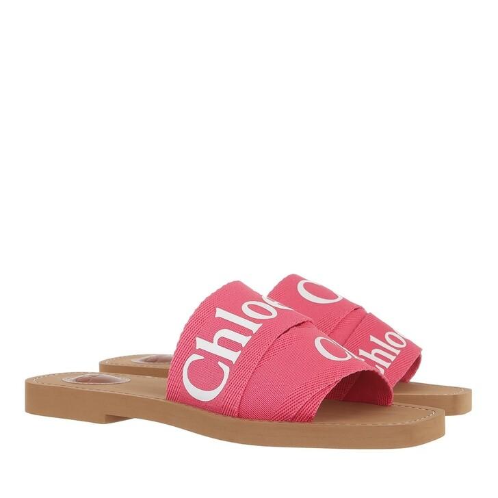 shoes, Chloé, Chloé Canvas Logo Sandals Hot Pink