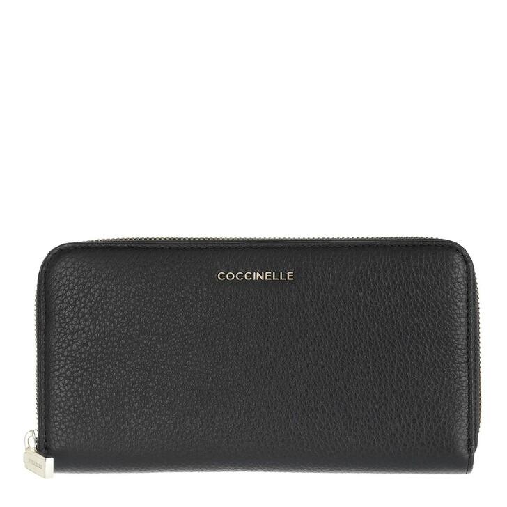 Geldbörse, Coccinelle, Metallic Soft Wallet Leather  Noir